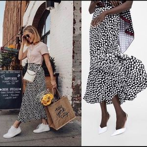 NWT Zara Polka Dot Midi Skirt